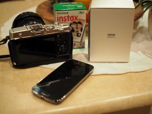 Instax SP-2 mit Olympus P5 und Smartphone